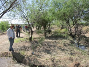 ARC members tour one of two Santa Cruz River restoration sites at San Xavier District.  The San Xavier District's project was funded by Arizona Water Protection Fund.